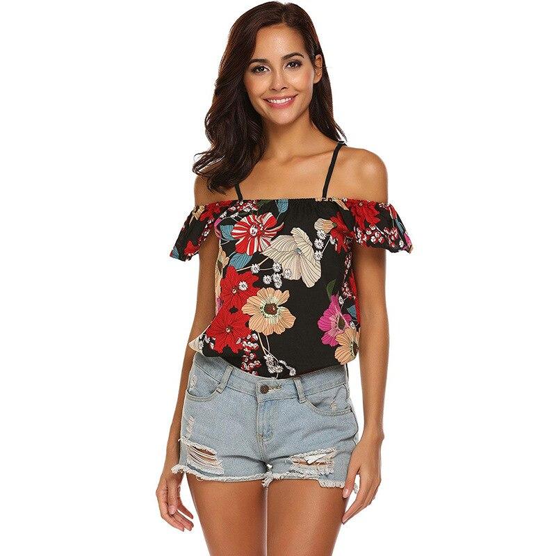 2019 Summer New Women Chiffon Blouse Casual Short Floral Print Slash Neck Off The Shoulder Crop Top