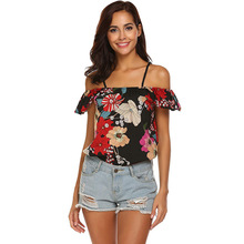 2019 Summer New Women Chiffon Blouse Casual Short Chiffon Floral Print Slash Neck Off The Shoulder Crop Top Women Blouse