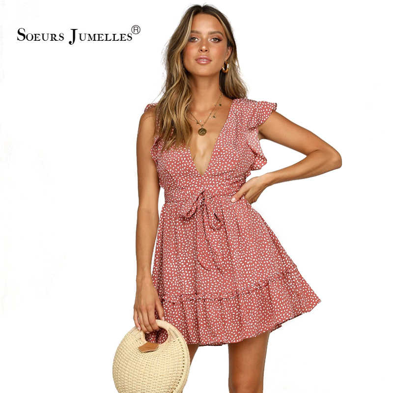 Sâu V-Cổ Polka Dot Mùa Hè Ăn Mặc Phụ Nữ 2019 Bohemian Mini Thời Trang Sexy Vestidos Kỳ Nghỉ Màu Xanh Bãi Biển Thanh Lịch Thương Hiệu Sundress