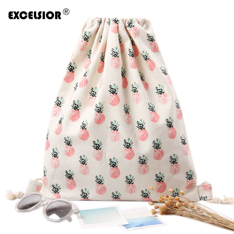 EXCELSIOR Girls Backpacks Shoes Bags Women Cotton Canvas Shoulder Bags Drawstring Pineapple Printing Women Storage Bags tangimp drawstring backpacks embroidery dear my universe cherry rocket printing canvas softback man women harajuku bags 2018