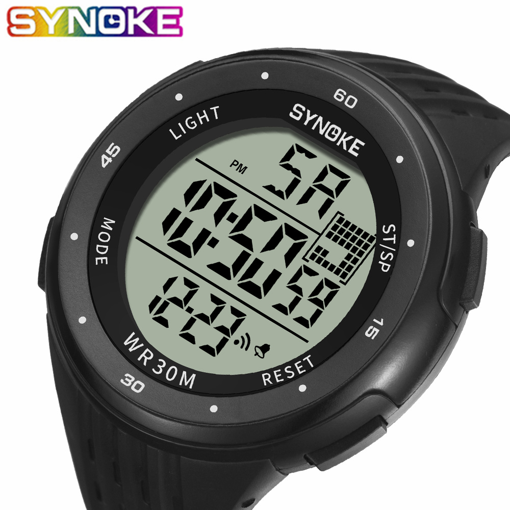 SYNOKE Men's Sport Watch Brand Digital Wristwatches Electronic Male Wrist Clock Man 30M Waterproof Men Watches Relogio Masculino