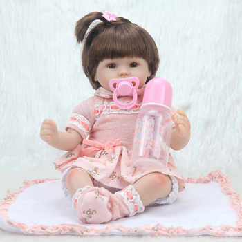 42cm charm baby Bonecas Lifelike toddler Baby girl adora  with Orange princess dress and Bowknot clip  silicone reborn baby doll