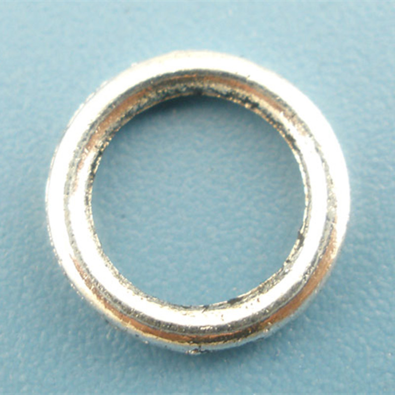 Wholesale Antique Silver Tone Soldered Closed Jump Ring DIY Jewelry Making 8mm Dia.