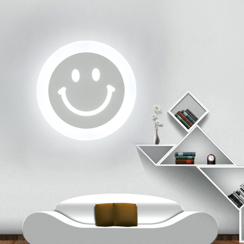 Modern Living Room Bedroom Bedside Wall Lamp 12W Led Acrylic Children Light Fixtures White Iron Sconce Home Lighting 110-220VModern Living Room Bedroom Bedside Wall Lamp 12W Led Acrylic Children Light Fixtures White Iron Sconce Home Lighting 110-220V