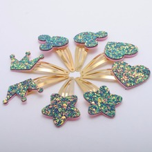 8/ 10 pcs/ lot New Gold Plated Girls Hair Clips Kids Glitter Hairpins Star Mickey Ear Crown  Hair Barrette Kids Hair accessories