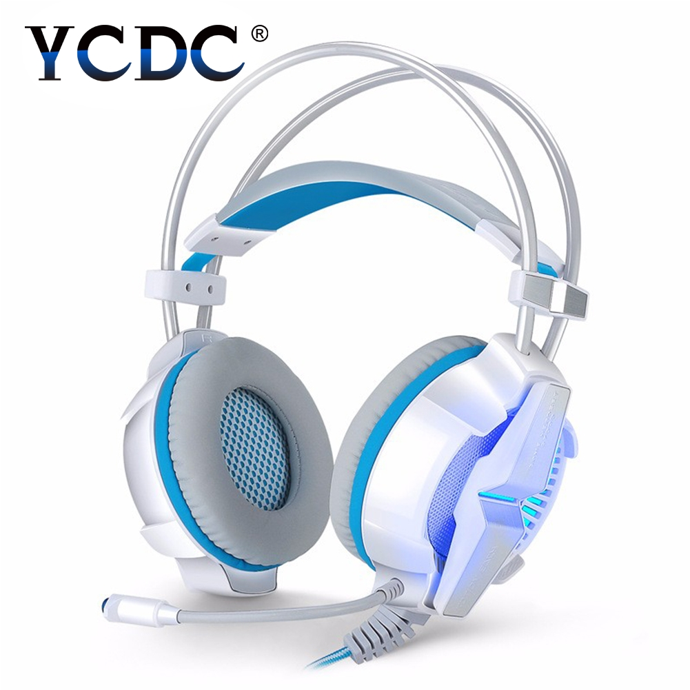 G7000 DOTA2 Gaming Headphone Online Game White Headset LED+Mic Line Control Blue / Black / Red / white g1100 3 5mm pro gaming headset headphone for ps4 laptop crack pattern led led blue black red white