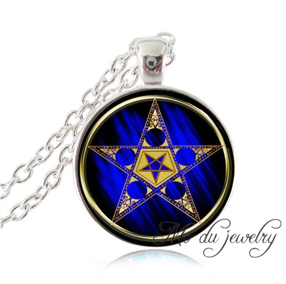 Buy Astrology Pentagram with upside down star necklaces pendants glass dome golden Pentacle necklace Tarot pendants Wiccan jewelry for $2.54 in AliExpress store