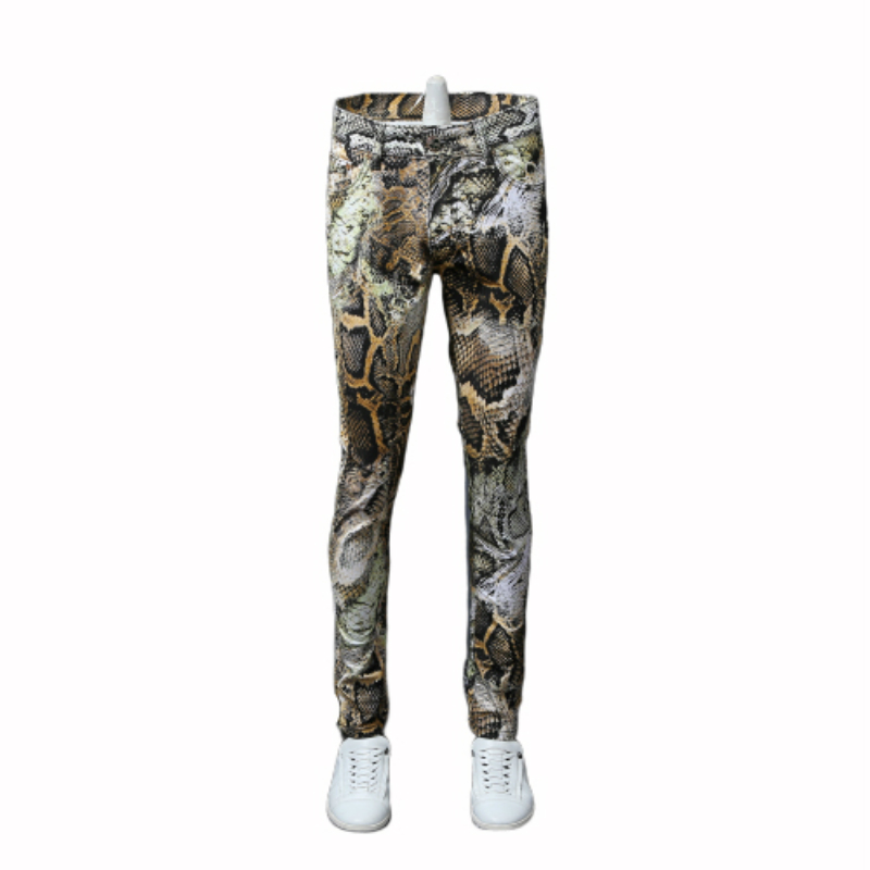New Fashion Men's Serpentine Printed Jeans Male Coloured Drawing Trousers Flower Pants Mens Skinny Jeans Classic Snake Grain