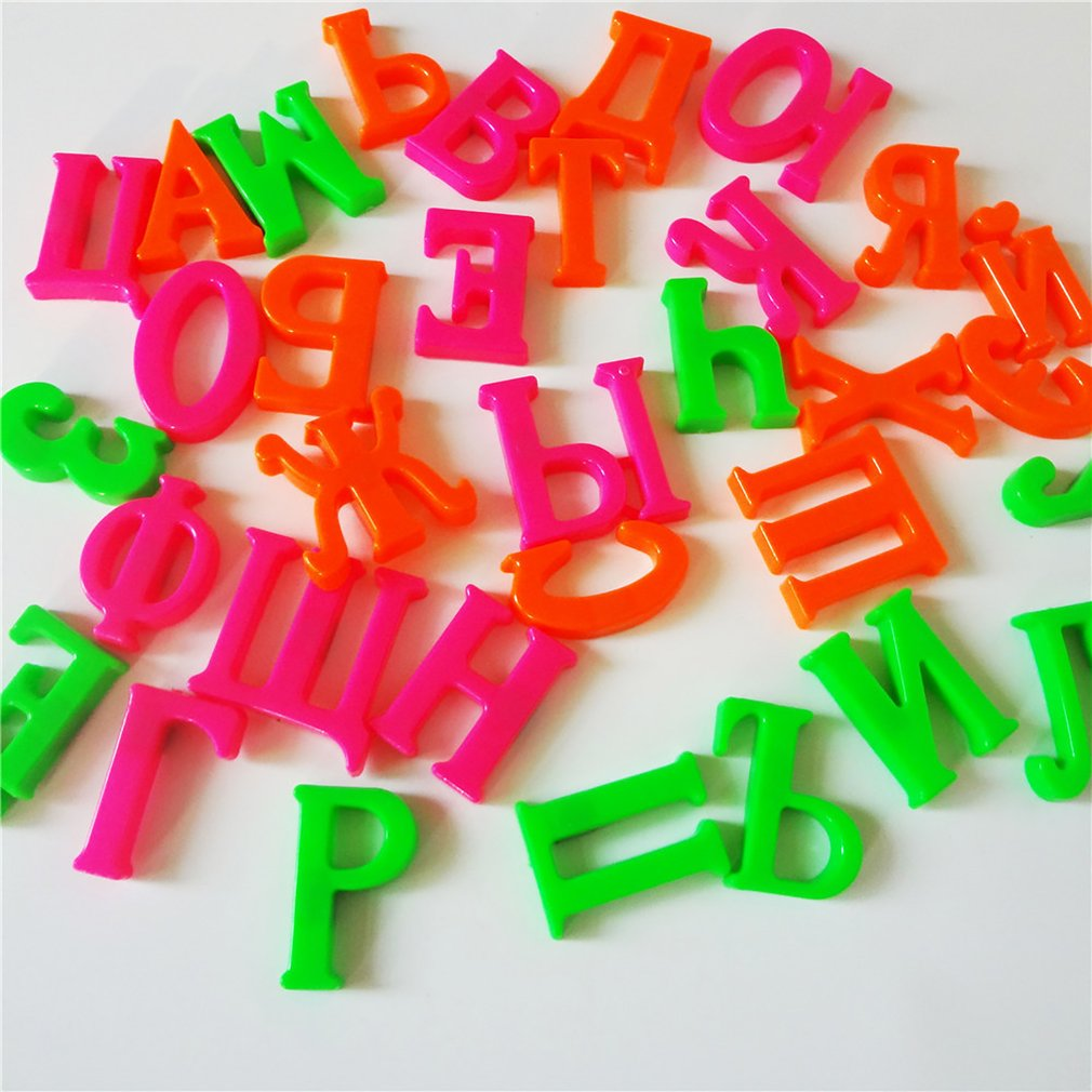 New 33 Pieces 4cm Russian Alphabet Fridge Magnets Plastic Toys Child Letter Education Toy Baby Learning Tools Gifts Droposhippig