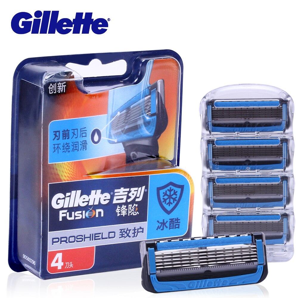 Gillette Fusion Proshield Razor Blade For Men Shaver Blades With Cooling Beard Shaving Razors Blades 4Pcs Machine For Shaving