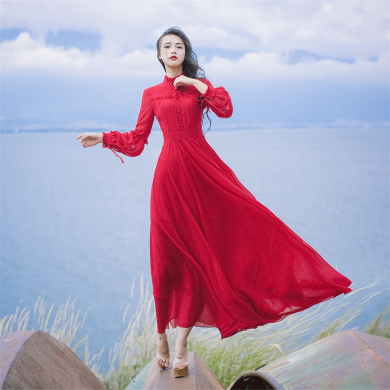 Nueva alta calidad explosiones ocio elegante vestidos rojos mujeres encaje primavera Casual Camisa vestido-in Vestidos from Ropa de mujer    1