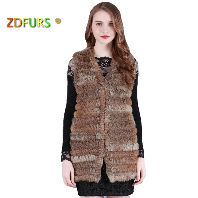 ZDFURS * 2017 New Fashion Real Knitted Rabbit Fur Vest long style Genuine Rabbit Fur sweater Waistcoat Rabbit Fur Gilet