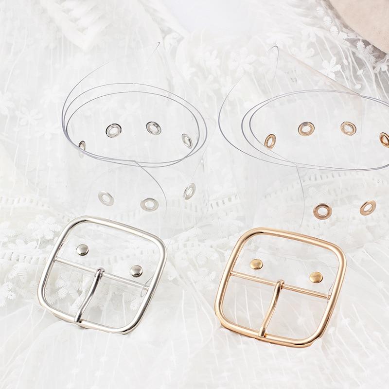 Fashion Wild Resin Plastic Transparent Belt Round Buckle, Square Buckle, Peach Heart Buckle Ladies Belt Invisible Belt 2019