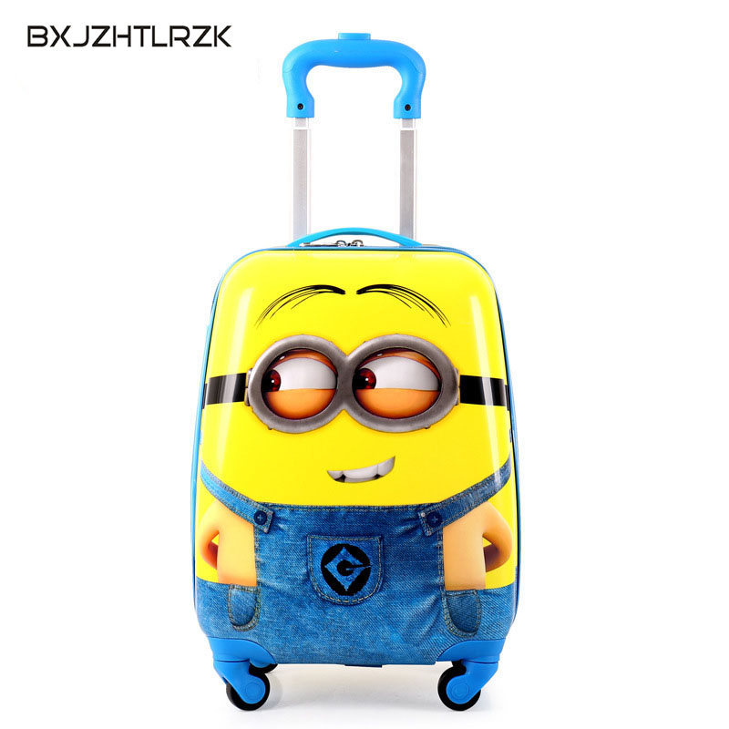 BXJZHT;RZK 2018 cartoon child travel bags trolley suitcase for kids luggage suitcase Rolling case travel bag with wheels vintage suitcase 20 26 pu leather travel suitcase scratch resistant rolling luggage bags suitcase with tsa lock