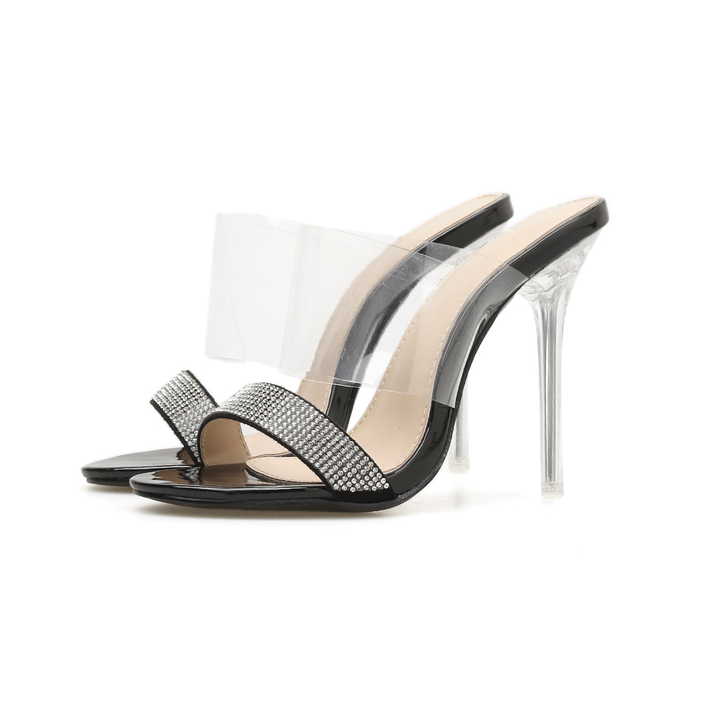 Sexy Rhinestone Transparent Crystal High Heels Women 39 s Slipper Ladies Sandals 2019 Summer Casual Shoes Stiletto Sandals Women in High Heels from Shoes