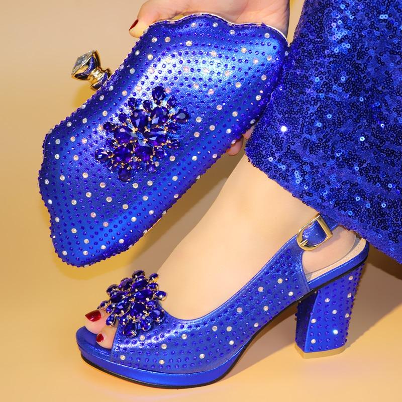 Gryan Nouveau venir Africain sandales Italien bleu chaussures et sacs pour correspondre à chaussures avec sac ensemble SJM1-22