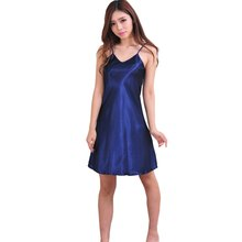 Sexy Girls Sleepwear Nightshirts Satin Chemises Slip Sleepwear Women Sleep Lounge Nightgowns Sleepshirts(China)