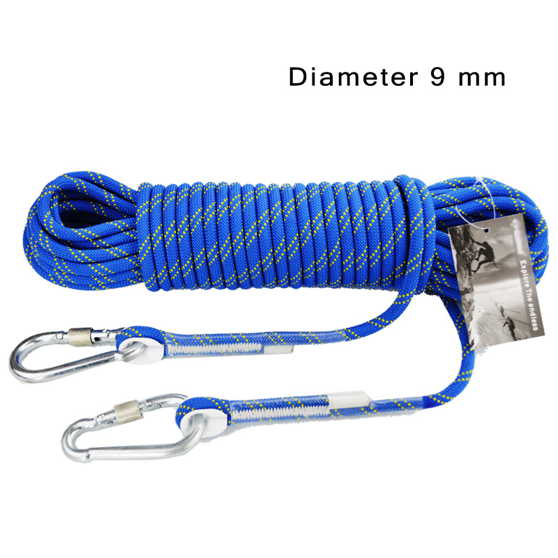 Profession 5M~200M Outdoor Survival Paracord Climbing Rope Hiking Accessory Diameter 9mm with Climbing Buckle static rope golf wood 5 head cover