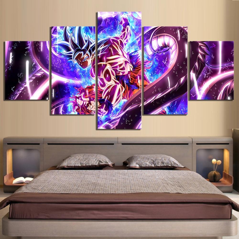 5 Piece Dragon Ball Ultra Instinct Goku Figure Anime Poster Canvas Paintings Wall Art for Home Decor 1