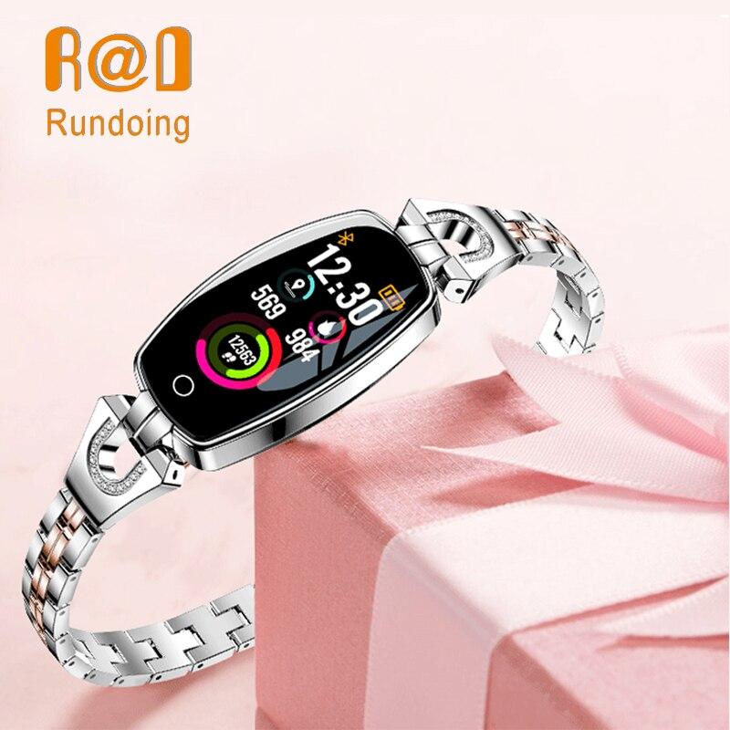 Rundoing H8 donne intelligente wristband bracciale Fitness Heart Rate Monitor di pressione sanguigna di ossigeno nel sangue smart band migliore regalo per la Signora