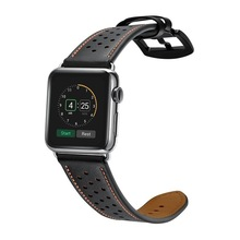купить 2018 new Leather Band For Apple watch 42mm 38mm wriststrap With black adapter for Apple watch Series 1/2/3 Watch Strap Watchband по цене 989.31 рублей