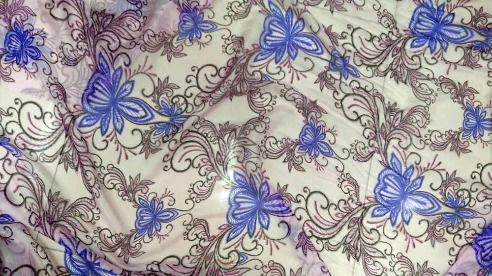 Новая чистая натуральная шелковая шифоновая ткань синий розовый анютины глазки цветы цифровая шелковая ткань с принтом tissu Австралийский метр текстильные платья