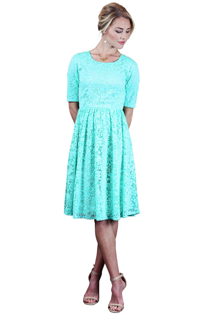 Mint Short Lace Modest   Bridesmaid     Dresses   With Half Sleeves Vintage Country Rustic   Bridesmaid     Dress   Robes Custom Made Fast Ship