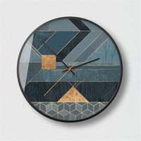 14 Inch Creative Geometric Metal Wall Clock Living Room Modern Silent Metal Quartz Clock Bedroom Simple Round Glass Clock