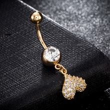 Navel Piercing Heart Crystal Body Jewelry Gold color Belly Button Ring Bar Beauty Bijoux Wedding Party For Women