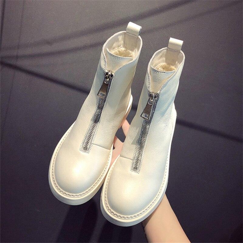 2019 Nouveau décontracté femmes chaussures d'hiver en cuir chaud tube court Martin bottes de mode tendance confortable sauvage doux chaud femmes bottes