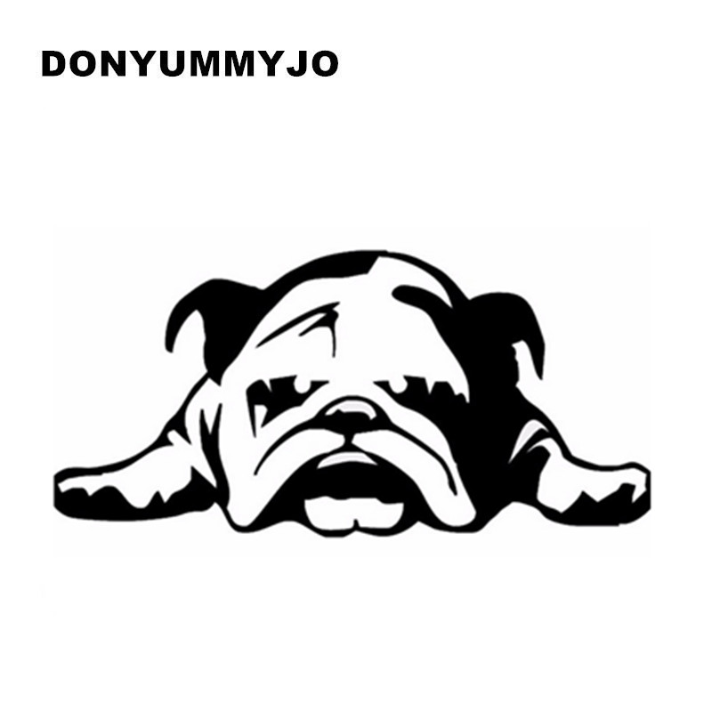 11*23CM BULLDOG TIRED PUPPY DOG Fun Black British Tired Little Dog Car Stickers Motorcycle Auto Waterproof Reflective Decal