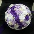 2016 de la perla púrpura de la boda ramo elegante ramo de novia con cristales hechos a mano flor artificial mano que sostiene dama de honor ramo