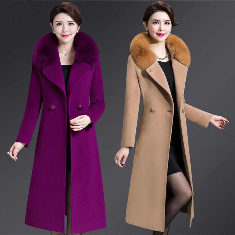 Cashmere Woolen Coat Women Winter New Plus Size Warm Double Breasted Fur Collar Long Woolen Coat Female Jacket 5XL 2019 164-238