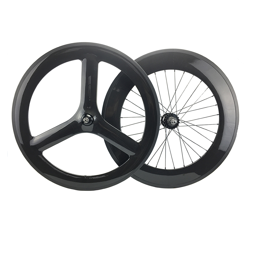 carbon bike wheel 65mm tri spoke front and 88mm rear carbon wheel 23mm width road /track ,fixed gear wheel 700C OEM carbon wheel lurhachi carbon 3 spokes wheel road track fixed gear carbon wheels 700c clincher tubular tri spoke wheel road with novatec hub