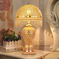 European Newest Hand inlaid glass mosaic bedroom living room decorative Table Lamps of Mediterranean style Turkish Lamps