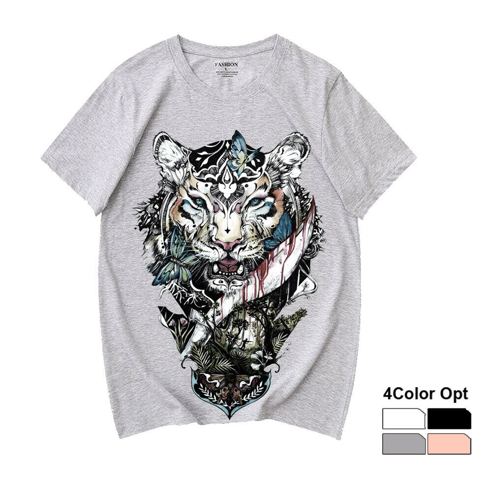 Men Women Unisex Adult Loose Short Sleeve T Shirt Hip Hop Tee Rock Top Skate Board Summer Casual Cotton Clothing Blood Tiger in T Shirts from Men 39 s Clothing