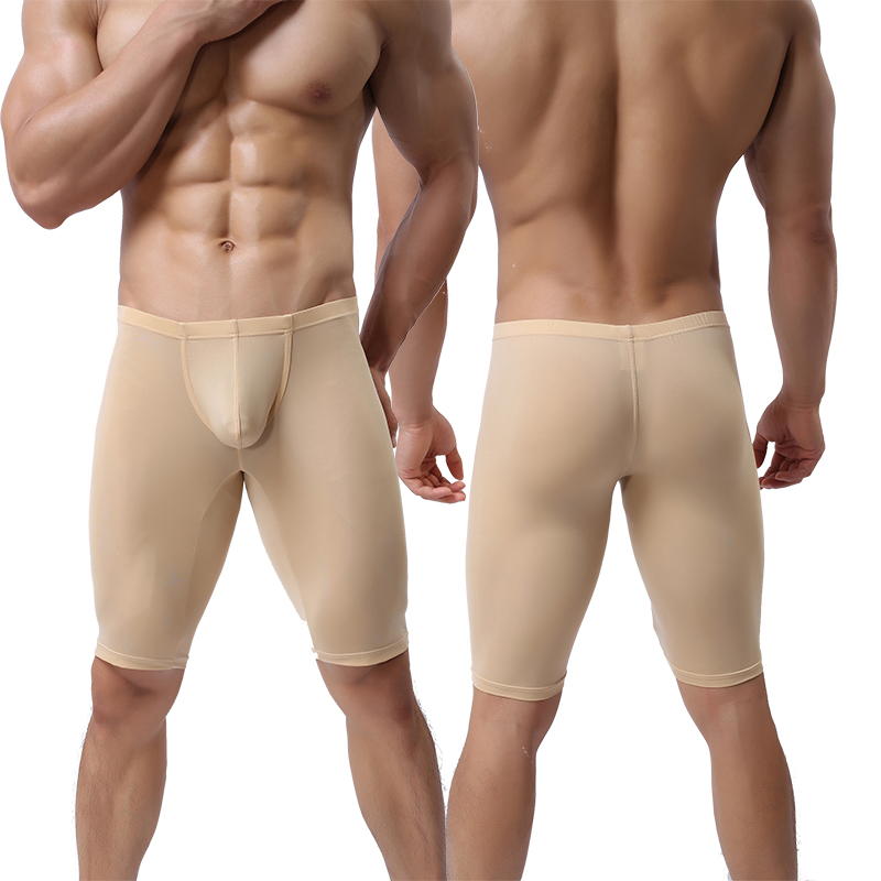 Long Underwear Convex-Pouch Men Boxer Transparent Ultra-Thin Solid Sculpting Half-Length