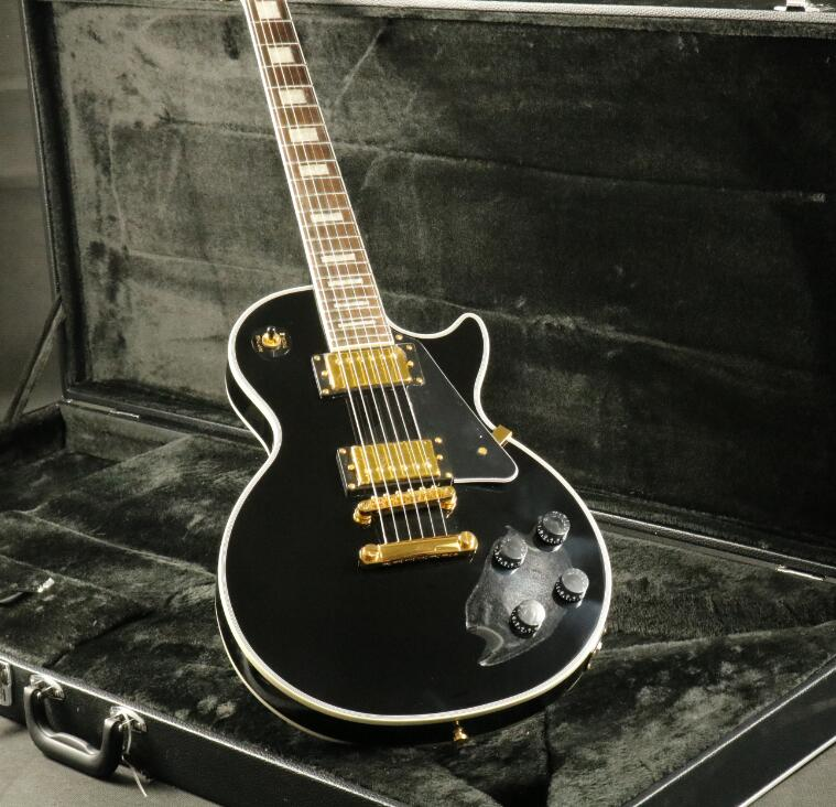 Stock Top Quality LP Custom Electric Guitar Carved Maple Top Grover Tuner Black Gold Hardware Ebony