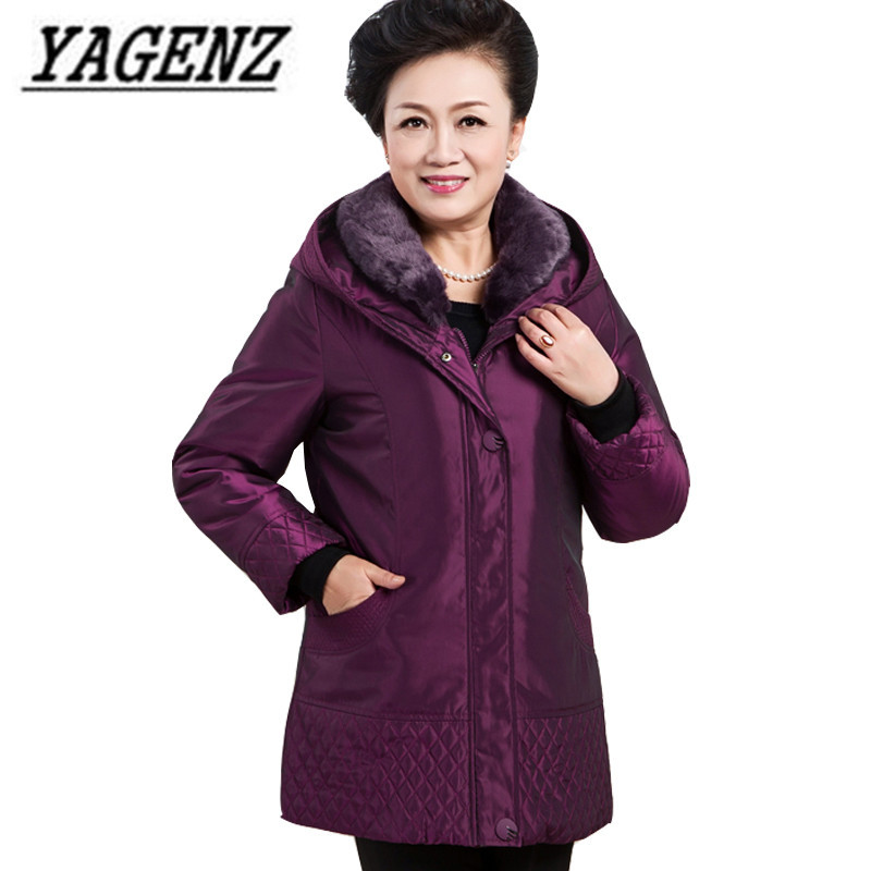 Middle-aged Winter Down hooded Coats Woman Clothing High-grade Medium long Outerwear Large size Winter Parkas Female Jackets 6XL