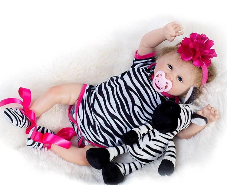 Dollmai weichen Silikon Vinyl Babys Reborn Puppen Realistische Lebendig 19 zoll Neue lebendig Baby tragen Streifen Strampler bebes Bonecas Rebron