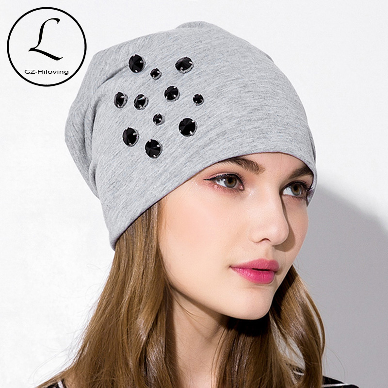 GZHILOVINGL 2018 Autumn Spring Causal Cotton women Baggy Rhinestone Beanies Hats Winter Women Skullies Beanies Hat Gorros femme(China)
