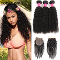10A Grade Burmese Virgin Hair with Closure Burmese Kinky Curly Virgin Hair with Closure 3 Bundles with Curly Lace Closure Soft