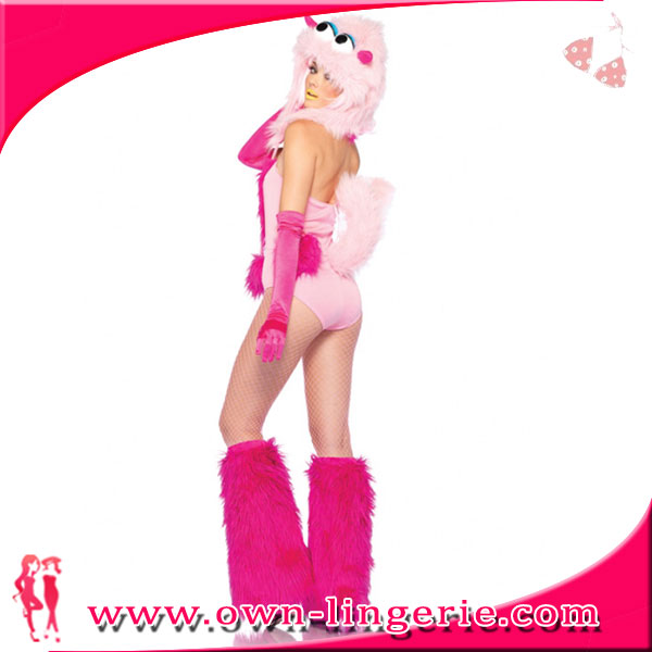 Sexy cheap pink animal costume,pink bodysuit costume with fur,monster animal halloween costume 4798