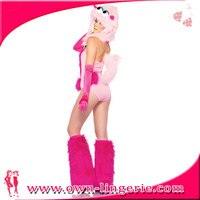 Sexy goedkope roze dier kostuum, roze bodysuit kostuum met bont, monster dier halloween kostuum