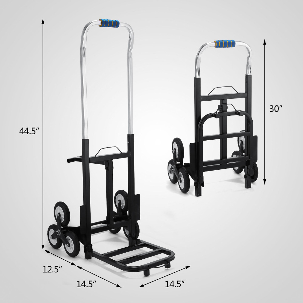 Portable Stair Climbing Folding Cart Climb Hand Truck with Backup Wheels stair climbing sack trolley unique wheel designed with carbon steel material 6 wheeled stair climbing folding hand trolley