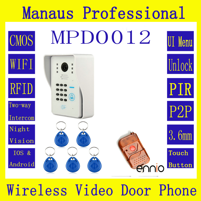ENNIO WIFI Wireless Video Door Phone System with Card Unlock Function & Remote Wireless Control Door Bell D12b