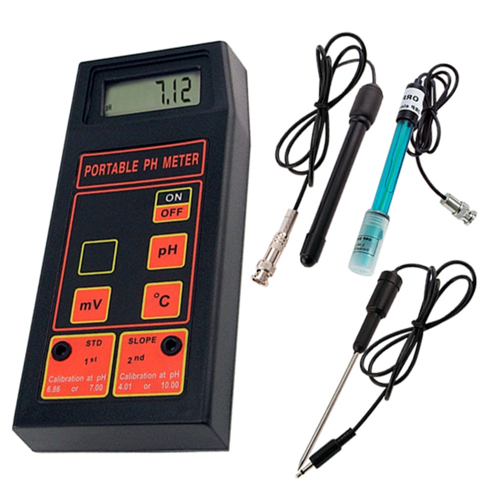 Portable 3-in-1 High Accuracy pH/mV/Temp Meter + Replaceable pH & ORP Electrodes + Temperature Probe + 2 Calibration Solutions 3 in 1 high accuracy automatic calibration digital portable ph orp temp meter 0 00 14 00ph water quality analysis tester