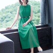 Fake Silk Chiffon Long Maxi Sleeveless Dress Women Elegant Ruffles Plus Size Tunic Party Dresses 2019 Summer Robe Green Clothes