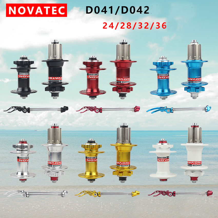 Novatec MTB Bike Hub D041SB D042SB Mountain Bicycle Hubs Front + Rear + quick release set disc bearing 28 32 36 Holes image