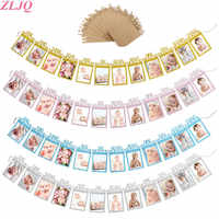 ZLJQ-Bandera de cuerda para fotos de 1 a 12 meses, para fiesta de bienvenida de bebé, decoración para fiesta de 1 ° cumpleaños